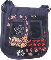 Rural Touch Girls, Women Casual, Festive Black Jute, Fabric Sling Bag