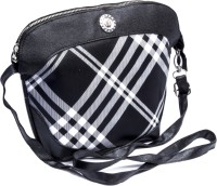 Voaka Girls, Women Black, White Leatherette Sling Bag