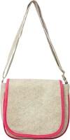 Heels & Handles Women White, Pink Leatherette, PU Sling Bag