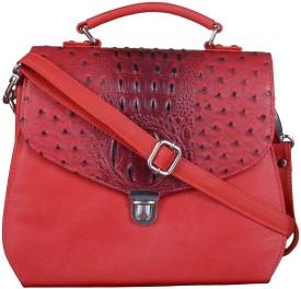 JAGADHARTI Women Maroon Leatherette Shoulder Bag