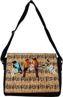 Lavaya Women Casual Black, Beige Canvas, PU Sling Bag