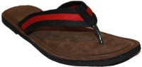 Authority Red & Black Leather Flip Flops