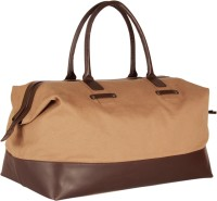 Beroza Handcraft Gable Small Travel Bag  - Large Light Khaki Canvas, Dark Brown Leather