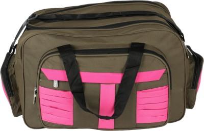 United Bags GrnPnk Stripes Airbag Small Travel Bag  - Medium Green, Pink