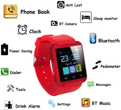 Bingo U8 Smart Mobile Notification Smartwatch (Red Strap)