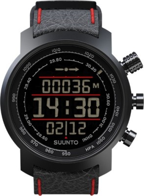 Suunto SS019171000 Elementum Terra Digital Black & Red Leather Smartwatch (Black, Red Strap)