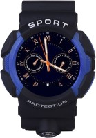 Bingo Sporty Waterproof C3 BLUE Completely Supports Bluetooth Smartwatch (Black Strap)