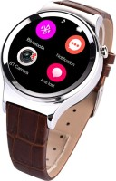 Bingo T20 Silver Round Stylish Android IOS Compatible Bluetooth Notification Smartwatch (Brown Strap)