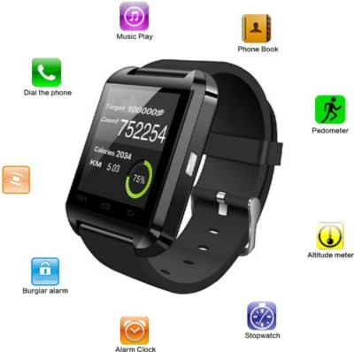 M ZONE GADGET MZ U8 BLACK Smartwatch (Black Strap)