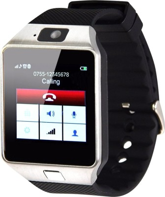 Aja Retail Bluetooth, Sim, Memory Card Slot, Camera Fitness Tracker Black Smartwatch (Black Strap)