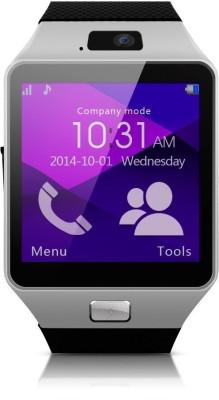 Influx ™ DZ09 Bluetooth GSM SIM Sim Memory Card Supp. Silver Smartwatch (Black Strap Free)
