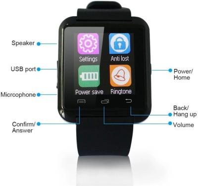 VibeX ™ Upgraded Version Health Monitor U8 Black Smartwatch (Black Strap Free Size)