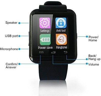 super vision u8 Smartwatch (Black Strap)