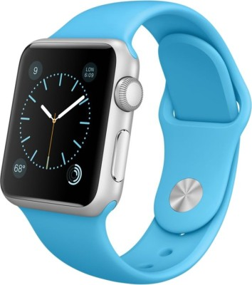 Apple Watch Sport 38 mm Silver Aluminium Case with Sport Band Blue Smartwatch (Blue Strap)