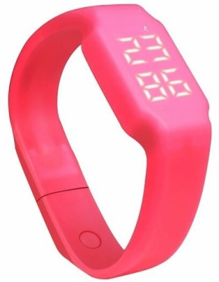 Flipfit Fitness BanD 3D PeDometer Sleep Temperature Calorie Monitor Time Display Silicon Without SpeeDometer White Smartwatch (Pink Strap Free Size)