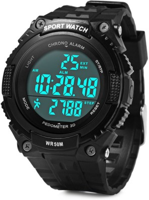 Bs Spy PeDometer  Waterproof Sports Multifunction LeD Digital 3D PeDometer Military With Alarm Without SpeeDometer Black Smartwatch (Black Strap Free Size)