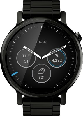 Motorola Moto 360 2nd Gen (46 mm) for Men Black Metal Smartwatch (Black Strap L)