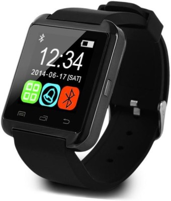 S-UNI U8 Black Smartwatch (Black Strap)