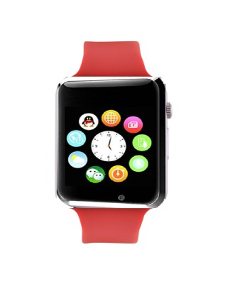 Frenzy With Sim, Memorycard slot, Bluetooth and Fitness tracker Red Smartwatch (Red Strap)
