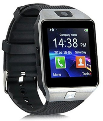 Wokit Bluetooth with Built-in Sim card and memory card slot Compatible with Alcatel Mobiles Silver Smartwatch (Black Strap)