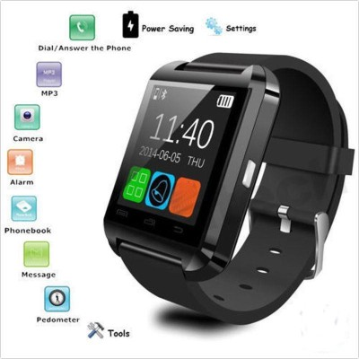 99Gems Bluetooth watchinternational Smartwatch (Black Strap)