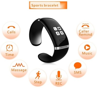 Flipfit TOUCH SCREEN Fitness Band bracelet BLUETOOTH CALL NOTIFICATION 3D Pedometer Temperature Calorie Monitor band tracker WITH VIBRATOR (MASSAGE OPTION) Black Smartwatch (Black Strap Free Size)
