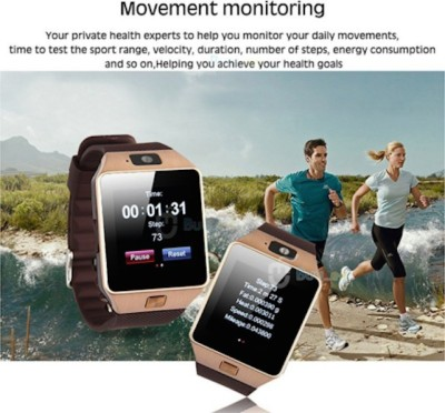 Outsmart with SIM card, 32GB memory card slot, Bluetooth and Fitness Tracker Smartwatch (Brown Strap)