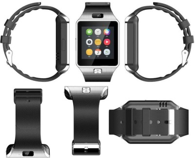 Hari Krishna Enterprise Sim Silver Smartwatch (Black Strap)
