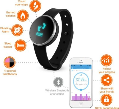 Ihealth Smart Watch Activity & Sleep Tracker Smartwatch (Black Strap Free Size)