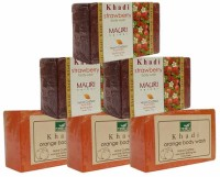 Khadi Orange & Strawberry Triple Pack Soaps - Combo Pack Of 6 - Premium Handcafted Herbal (750 G)