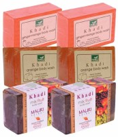Khadi Ginger-Mango, Strawberry & Aloe-Vera Double Pack Soaps - Combo Pack Of 6 - Premium Handcafted Herbal (750 G)