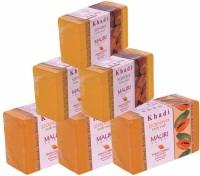 Khadi Mauri Papaya & Sandal Soap - Pack Of 6 - Premium Handcrafted Herbal (750 G)
