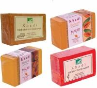 Khadi Mauri Haldi-Chandan Papaya Sandal Saffron Soaps - Combo Pack Of 4 - Premium Handcafted Herbal (500 G)