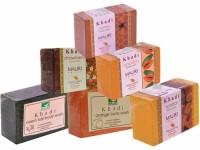 Khadi Neem-Tulsi Orange Sandal Strawberry Papaya Honey Soaps - Combo Pack Of 6 - Premium Handcafted Herbal (750 G)