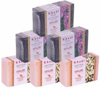 Khadi Mauri Jasmine & Lime-Lavender Triple Pack Soaps - Combo Pack Of 6 - Premium Handcafted Herbal (750 G)