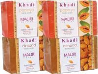 Khadi Mauri Almond & Papaya Soaps Twin Pack Of 4 Herbal Ayurvedic Natural (500 G)