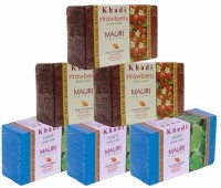 Khadi Mint & Strawberry Triple Pack Soaps - Combo Pack Of 6 - Premium Handcafted Herbal (750 G)