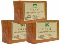 Khadi Mauri Haldi-Chandan Soap - Pack Of 3 - Premium Handcafted Herbal (375 G)