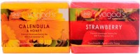 Vagad's Khadi Calendula & Strawberry Handmade Soap ( Combo Pack ) (200 G)
