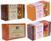 Khadi Mauri Fruit Based Soaps - Pack Of 4 - Strawberry Papaya Orange & Mix - Premium Handcrafted Herbal (500 G)