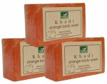 Khadi Mauri Orange Soap Pack of 3 Premium Handcafted Herbal