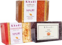 Khadi Mauri Saffron Oat Rose-Sandal Soaps Pack Of 3 Herbal Ayurvedic Natural (375 G)
