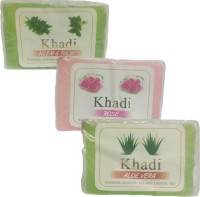 Khadi Handmade Soaps- Neem & Tulsi, Rose And Aloe Vera - Pack Of 3 (375 G)
