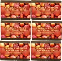 Lass Naturals Peach And Apricot & Walnut Scrub Handmade Soap (Pack Of 6) (750 G)