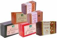 Khadi Neem-Tulsi Saffron Stawberry Orange Honey Almond Soaps - Combo Pack Of 6 - Premium Handcafted Herbal (750 G)