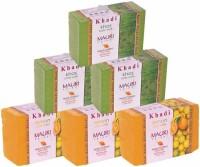Khadi Mauri Lemon & Khas Triple Pack Soaps - Combo Pack Of 6 - Premium Handcafted Herbal (750 G)