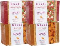 Khadi Mauri Almond & Strawberry Soaps Twin Pack Of 4 Herbal Ayurvedic Natural (500 G)