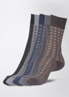 Calzini Men's Checkered Crew Length Socks Pack of 5
