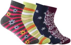 Supersox Women's Self Design Ankle Length Socks Pack Of 4