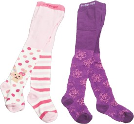 Mee Mee Girl's Floral Print, Polka Print Knee Length Socks (Pack Of 2)